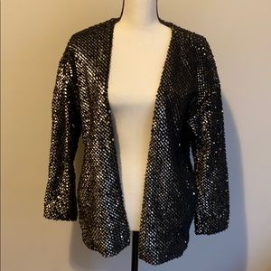 Fuzzy cardigan with sequins